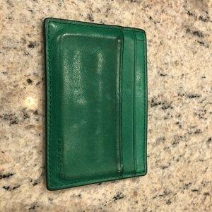 Men's Coach Green Leather Card Case